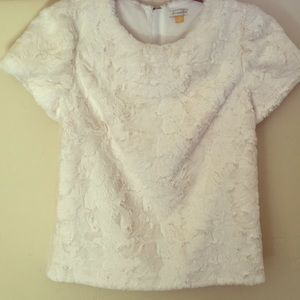 Anthropologie textured faux fur top